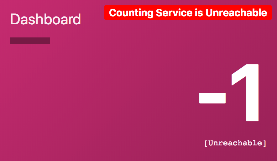 Demo dashboard cannot reach the counting service